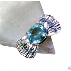 Riyo Industrious Blue Topaz 925 Solid Sterling Silver Blue Ring Srbto7-10065