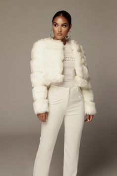 Add some Luxury to your wardrobe! Mid-weight super soft faux fur coat with bubble like detailing, slightly cropped fit and an open silhouette. Acrylic Polyester Underarm to hem: in. Model is wearing size S. Winter Coats Women, Big Sur, Faux Fur, Fur Coat, Ivory, Swimwear, Model, How To Wear, Jackets
