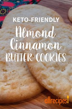 Low-Carb Almond Cinnamon Butter Cookies - - My quick and easy go-to keto and gluten-free cookie recipe whenever I want to have something sweet, with very few net carbs per cookie! Keto Cookies, Butter Cookies Recipe, Cookies Et Biscuits, Chip Cookies, Low Calorie Cookies, Keto Peanut Butter Cookies, Sugar Free Cookies, Low Carb Sweets, Low Carb Desserts