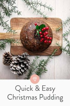 Quick and easy Christmas pudding recipe (or plum pudding). This us the easiest recipe I've seen for a plum pudding. Steam/cook in a crockpot and use a bundt pan ilo a pudding tin for even easier cooking. Xmas Pudding, Keto Pudding, Easy Pudding Recipes, Avocado Pudding, Chia Pudding, Easy Christmas Pudding Recipe, Pudding Desserts, Christmas Lunch, Vegan Christmas