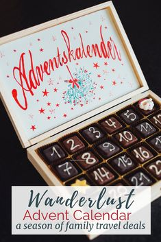 A Wanderlust Advent Calendar How about a Wanderlust Advent Calendar? An advent calendar filled with all kinds of travel goodies! Ideas, deals, printables and learn on location fun. For all who love to travel, and dream of family travel th Travel With Kids, Family Travel, Wine Advent Calendar, Advent Calendars, Advent Season, Bohol, Wall Stickers Home Decor, Wall Decor, Old Fashioned Christmas