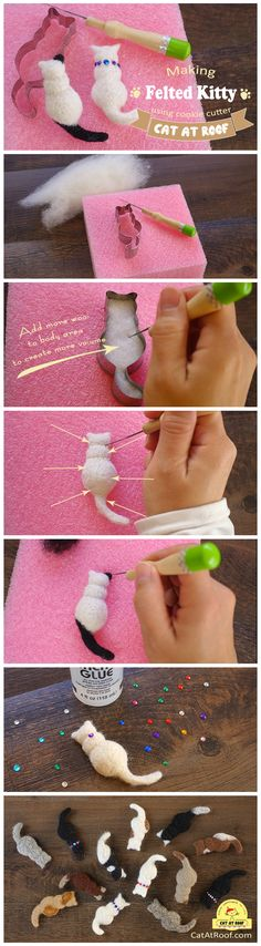 needle felting tutorial - cookie cutter felted kitty - CatAtRoof