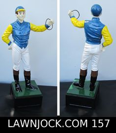 The traditional lawn jockey statue is taking back America's boring suburban neighborhoods one yard at a time. Your lawn is next! Want an REAL METAL jock professionally painted using 2 coats of high gloss enamel like this one shipped directly to your mansion in about 3 weeks? Visit lawnjock.com for a price quote today and reference custom example #157.