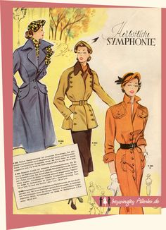beswingtes Allerlei: Wiener Weltmode Nr. 15 1951 1940s Fashion, Vintage Fashion, Color Combinations For Clothes, Mode Mantel, Flappers, Silhouette, Fashion Illustrations, Vintage Sewing Patterns, 1980s