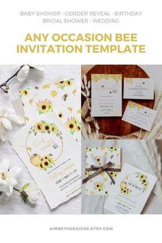 Bee Invitation Template for Baby Shower, Birthday, Bridal Shower or Wedding - #bee #honeybee #honeycomb #meanttobe #sweettobeeone #sweetascanbee #beeshower #beebabyshower #beewedding #beebirthday #bumblebee #honey #yellow #yellowwedding #sunflowers #editable #invite #invitation #template #printable #digitaldownload Girls Birthday Party Themes, Little Girl Birthday, Bee Invitations, Invite, Printable Planner, Printables, Mommy To Bee, Bridal Shower, Baby Shower