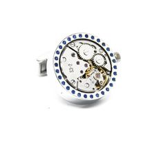 Wholesale&retail Lepton 2015 New Functional Watch Movement Cufflinks Blue Crystal cufflinks Steampunk Gear cuff links Promotion //Price: $US $15.12 & Up To 18% Cashback //     #gothicoutfit