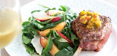 Caramelised pork chops with nectarine & rocket salad - New Zealand Womans Weekly