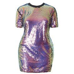 a397d3657ad9e Plus Size Mermaid Sequin T Shirt Mini Dress. Posh Shoppe