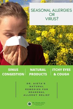 How do you know if you have Seasonal Allergies or a Virus? Learn the symptoms of each, natural medicine to support your immune system and give you relief! Learn more at draieta.com #draieta #allergyrelief #allergy Seasonal Allergy Remedies, Seasonal Allergy Symptoms, Natural Remedies For Allergies, Seasonal Allergies, Severe Allergy Symptoms, Congested Nose, Natural Allergy Relief, Naturopathic Physician
