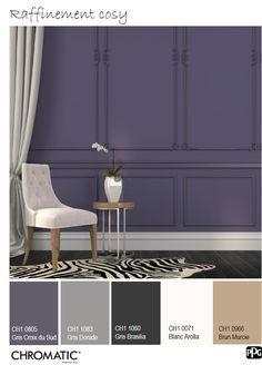 A refined color palette enhanced by the richness of the surfaces and . World Of Color, Tropical Paradise, Pantone Color, House Colors, Color Combos, Decoration, Colours, Curtains, Bedroom