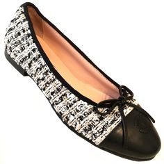 5bf6cfd78108 CHANEL Ballet Flats Cap Toe CC Logo Bow Black Grey Metallic Tweed Ballerina  35 5