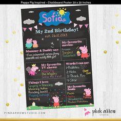 Pizarra de cumpleaños Peppa Pig Peppa Pig por PinkArrowStudio