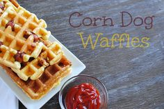 Forget store-bought corn dogs! Try these homemade yummies! Corn dogs in your waffle maker! Whip up some corn bread batter...throw some hot dogs on the iron...cover with batter and there you go! Your kids will eat 'em up! #corndogs