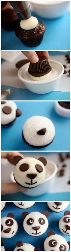 Panda Bear Cupcakes: so easy using chocolate chips for eyes, ears, nose + chocolate sprinkles for mouth!