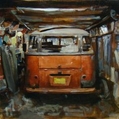 Deluxe Bus in Storage, 20x20, oil on panel, Santiago Michalek, VW painting, Volkswagen painting, bus painting, oil painting