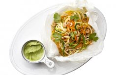 Groentespaghetti met garnalen