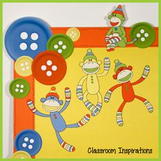 Sock Monkeys Button and Monkey Accents are part of the Sock Monkey Classroom Theme. We loved our sock monkeys so much we named them! What will you and your kids name yours? $ www.ClassroomInspirations.com