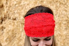 Oversized Red Adult Lace Headband by RuralHaze on Etsy, $9.99