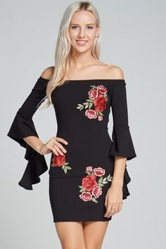 """Ruffled Arm Flower Off Shoulder Dress Fabric: 95% Polyester 5% Spandex Available Colors: White Available Sizes: S-M-L *This model is wearing size S. *Measurements are 32Bx25x35 and height is 5' 9"""" (17"""