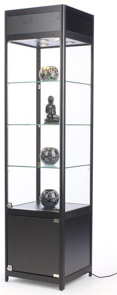 "18"" DIY Display Case w/Cabinet Base, Adjustable Shelves & Locking Hinged Door - Black"
