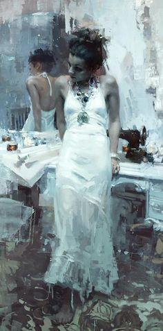 """Krasavitsa"" 48 x 24 inches Oil on Panel Jeremy Mann artist. Exhibit at: https://www.facebook.com/johnpencegallery"