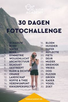 30 dagen challenge fotografie: daag jezelf uit en maak een maand lang iedere dag… 30 day challenge photography: challenge yourself and take a picture of this list every day for a month. Dslr Photography Tips, Photography Challenge, Photography Tutorials, Digital Photography, Landscape Photography, Learn Photography, Grunge Photography, Autumn Photography, Urban Photography