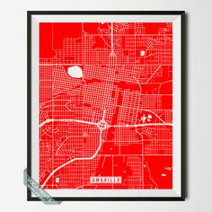 Amarillo Print Texas Poster Amarillo Map Amarillo by VocaPrints