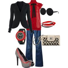 red and black; would change out the sunglasses and clutch, but everything else is awesome