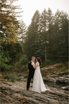 Smith Homestead is a great spot to stop on the way to the coast for Oregon couples photos! It has a pretty river and the forest there is beautiful! Photo by Portland couples photographer Katy Weaver