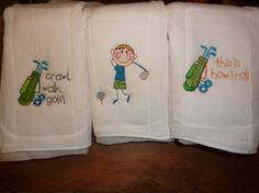Little Golfer burp cloth set 3 by 4my4creations on Etsy