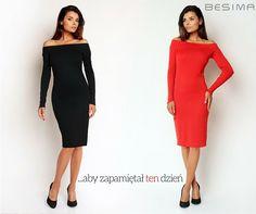 Zmysłowa sukienka z odkrytymi ramionami - Czarna czy Czerwona? Sklep BESIMA http://besima.pl