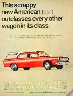 1966 Ad Vintage Rambler American 440 Station Wagon Red White Car Automobile YLZ1