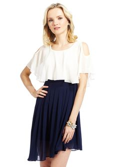 YA LOS ANGELES Flutter Sleeve Twofer Dress with Pleated Skirt