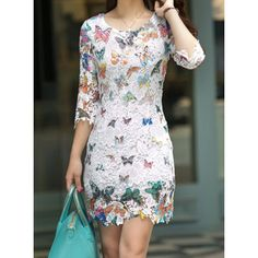 Vintage Scoop Neck 3/4 Sleeve Butterfly Pattern Lace Women's Dress