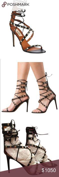 "Valentino rock stud cris-cross 4"" heels Wore once. 100% authentic Valentino Garavani Shoes Heels"