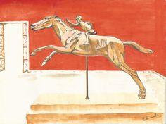 Estátua Joquei de Aretmísion - Aguarela e nanquim - A4