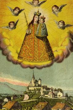 Maria RankweilA vintage holy card of the miraculous statue and pilgrimage church of Maria Rankweil in Austria.