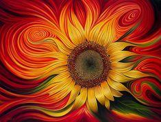 Sunflower curvismo painting, by Ricardo Chavez-Mendez #art #paintings #flowers