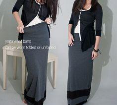 PLUS SIZE Maxi Skirt Long Women's Grey & Black Stripe by LOFT415, $34.00