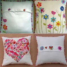 Cojins Bordados Cute Cushions, Printed Cushions, Cushion Embroidery, Embroidery Stitches, Felt Pillow, Mexican Embroidery, Futons, Decorative Pillows, Sewing Projects
