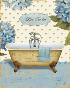 Great Big Canvas 'Thinking of You Bath II' Daphne Brissonnet Graphic Art Print Size: H x W x D, Format: White Framed Decoupage Vintage, Decoupage Paper, Vintage Diy, Vintage Labels, Bathroom Prints, Bathroom Art, Bathrooms, Seashell Bathroom, Bath Art