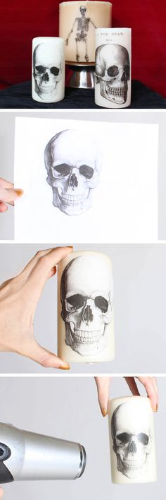 DIY Printed Halloween Candles | Click Pic for 20 DIY Halloween Decorations for Kids to Make | Cheap and Easy Halloween Decorations on a Budget #diy_halloween_candles
