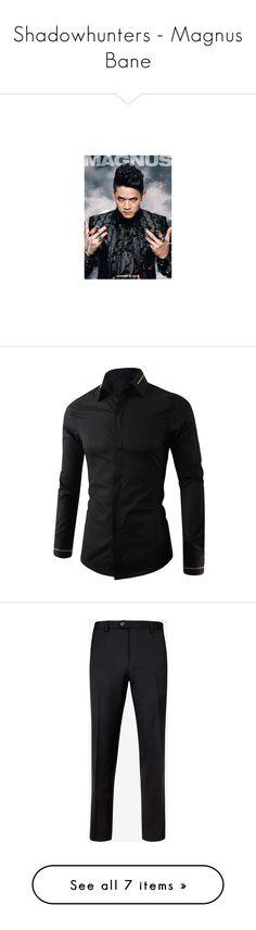 """""""Shadowhunters - Magnus Bane"""" by marinarodrigues-2 ❤ liked on Polyvore featuring men's fashion, men's clothing, men's shirts, men's casual shirts, mens slim fit casual shirts, mens collared shirts, mens slim fit long sleeve t shirts, mens long sleeve collared shirts, mens slim fit shirts and men's pants"""