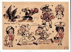 Flash Art Tattoos, Tattoo Flash Sheet, Old Tattoos, Navy Tattoos, Tatoos, Sailor Jerry Flash, Vintage Style Tattoos, Vintage Flash, Vintage Art