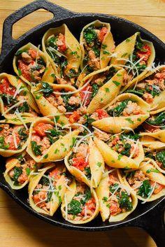 Sausage, Spinach, Tomato and Ricotta Stuffed Shells