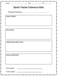 Parent Teacher Conference form and other printables