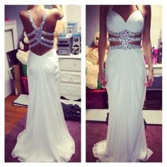Pretty White Beaded Sexy Cross Back Prom Dresses 2015, White Formal Dresses, Evening Dresses