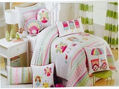 Kids' Bedspread Sets - Authentic Kids Fairy Princesses At the Beach Sea Shells Castles Twin Quilt * Click image to review more details.