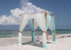 Aqua and white beach wedding delight