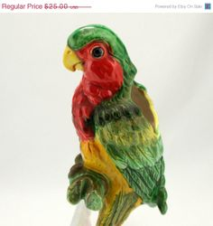 ON SALE Ceramic Parrot Hanging Planter Lefton Vtg by charmings, $22.50